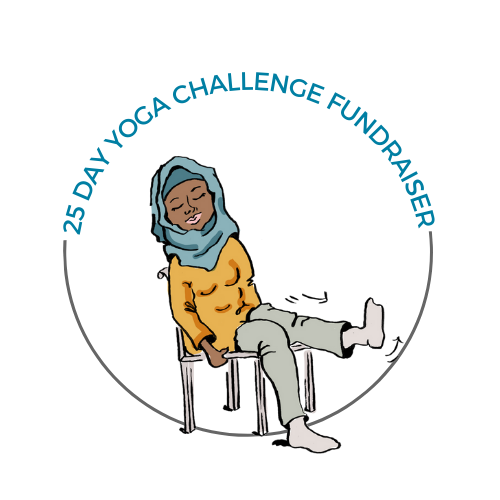 An illustration of a female person with brown skin wearing a head scarf. The person is seated in a chair with their right foot on the floor and their left leg raised straight in front of them at knee height. Their arms are by their sides.